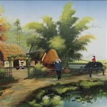 Tranh vẽ cảnh đồng quê - cao 42cm, rộng 66cm