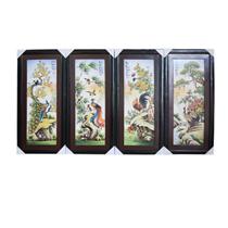 Tranh sứ vẽ tùng cúc trúc mai khung gỗ thông 120cm x 52cm
