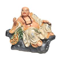 Tượng Di lặc ngồi bệ đá - men rạn - cao 60cm