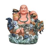 Tượng Di Lặc cưỡi cá chép hóa Rồng - men rạn cổ - cao 55 cm