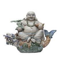 Tượng Di Lặc ngồi cá Chép hóa Rồng - Men rạn - Cao 40 cm