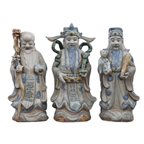 Tượng Phúc Lộc Thọ - Men giả cổ - cao 71cm