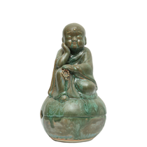 Tượng chú tiểu ngồi mõ - men xanh cổ - cao 35cm