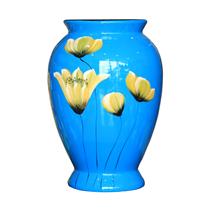 Vò bóng sơn mài chân cao hoa cánh bướm nền xanh cao 26cm