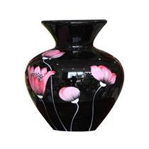 Vò bóng sơn mài loe hoa đỏ nền đen cao 23cm