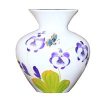 Vò bóng sơn mài loe hoa lan tím nền trắng cao 23cm
