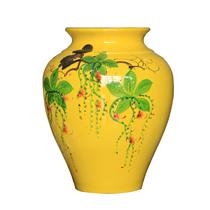 Vò bóng sơn mài ngấn hoa lộc vừng nền vàng cao 27cm