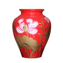 Vò bóng sơn mài ngấn cảnh hoa sen nền đỏ cao 27cm