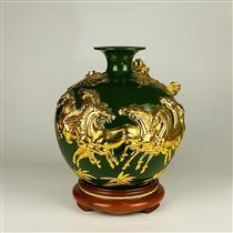 Bình hút lọc dát vàng mã đáo thanh công nền xanh ngọc lục bảo cao 30cm
